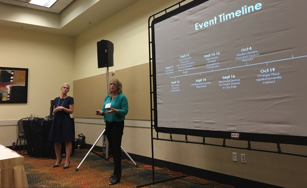 Molly Miller and Linda Jager present on their crisis communications response to the Pink deaths in Park City
