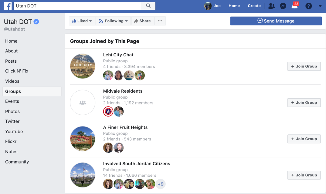 a screen shot of the facebook groups U-DOT has created, including the U.S. 89 Farmington to interstate 84 project and an environmental study for state route 73